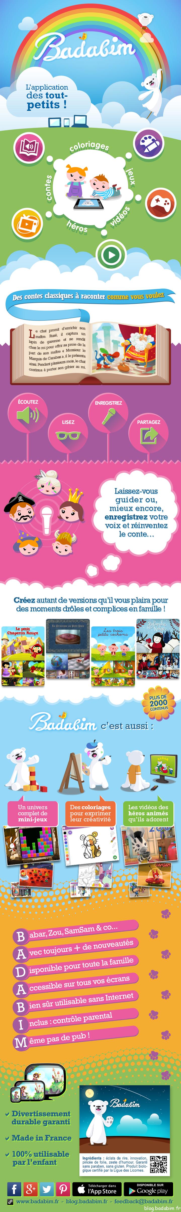 Badabim en infographie, l'application pour enfants avec des coloriages, des vidéos, des contes et des jeux !