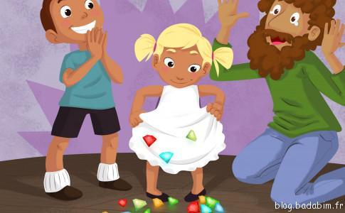 Hansel & Gretel est l'un des 12 contes illustrés et narrés sur l'application pour enfants Badabim