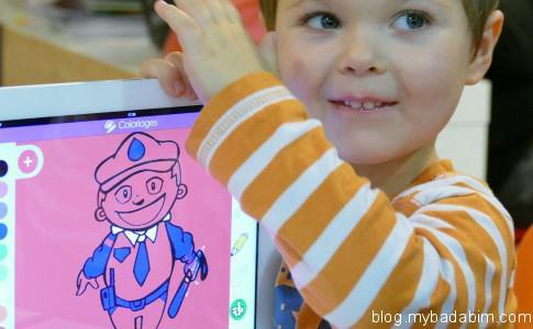 Badabim application Android iOS pour enfants contenant des contes, des coloriages, des vidéos et des jeux.